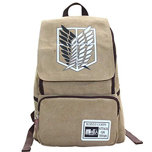 XYUANG Anime Cosplay backpack Attack On Titan Mochila de viaje unisex bolsa Bolso de escuela Khaki