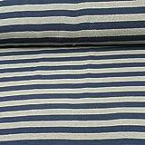 Strickstoff Lenn von Swafing, gestreift, grau/dunkelblau