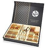 Yestter - Cubertería de mesa con 24 piezas, cuchillos y tenedores, cucharas, cucharas de café, juego de cubiertos de acero inoxidable con caja de regalo, para 6 personas