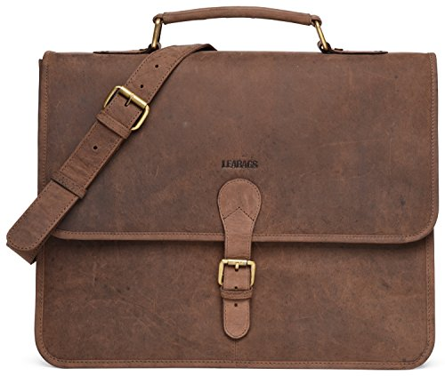 LEABAGS Clearwater Messenger Bag aus echtem Büffel-Leder im Vintage Look - Muskat