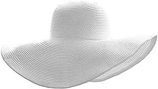 Women Summer Wide Brim Straw Sun Hat Foldable Floppy Beach Cap Visor Hat UPF 50+ White
