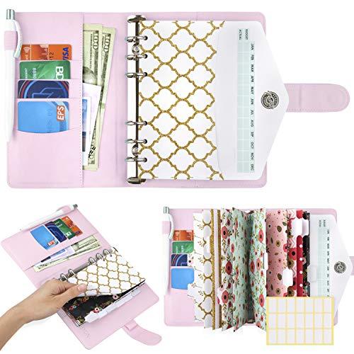 Pink A6 Binder and Budget Envelopes, Budget Binder with Cash Envelopes for Budgeting, Mini Binder Cash Envelope Wallet, Small Binder Budget Planner, Cash Envelope Binder with Money Envelopes for Cash