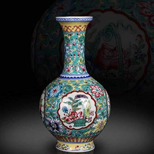 FTFTO Living Equipment Dekoratives Zubehör Ausgezeichnetes Porzellan Jingdezhen Keramik Spät Kangxi Zeit Pastellgrün Vase Keramikglas