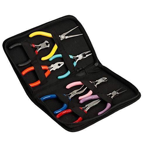 8 unids/set alicates de punta larga/redonda/plana 45# juego de alicates de acero para hacer joyas, herramientas de alicates para hacer joyas, para uso de bricolaje en industrias
