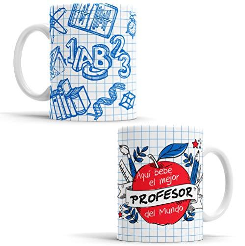 OyC Original y Creativo Taza para Profesor - Taza Aquí Bebe el Mejor Profesor del Mundo - Taza Regalo para Profesor - Taza con Frase y Dibujo (Profesor)