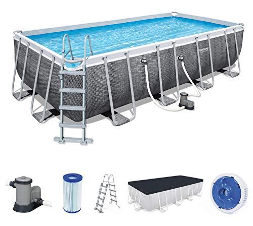 Bestway Power Steel Deluxe 549x274x122 cm, Frame Pool eckig im Komplett Set in Rattan-Optik, inklusive Filterpumpe, Leiter und Abdeckplane