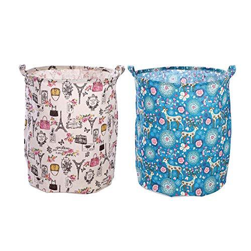 ZZXGG Cotton and Linen Storage Bucket Waterproof Laundry Basket Debris Storage Basket (2 Pack)