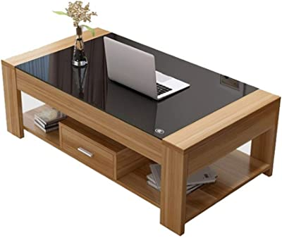 Simple Modern Living Room Coffee Table Table Sofa Table with Double Drawers, Easy to Assemble and Durable, L39*W23*H15.74in