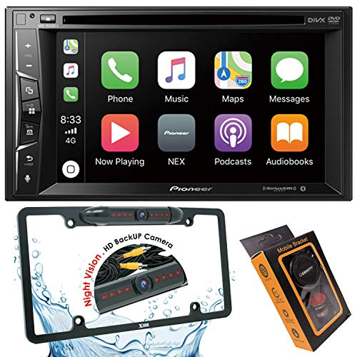 """Pioneer AVH-1500NEX Double Din Apple Carplay In-Dash DVD/CD/Am/FM Car Stereo Receiver W/ 6.2"""" Touchscreen + License Plate Backup Camera Included + Phone Magnet Holder"""
