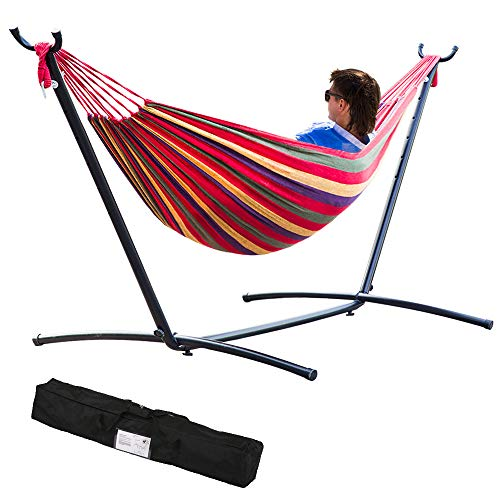 Dkeli 9ft Hammock with Stand Portable 2 Person Swing Stand Heavy Duty Steel Stand for Outdoor Patio Backyard Indoor Bedroom with Carrying Case, Weather-Resistant Finish, 450LBS Weight Capacity, Red