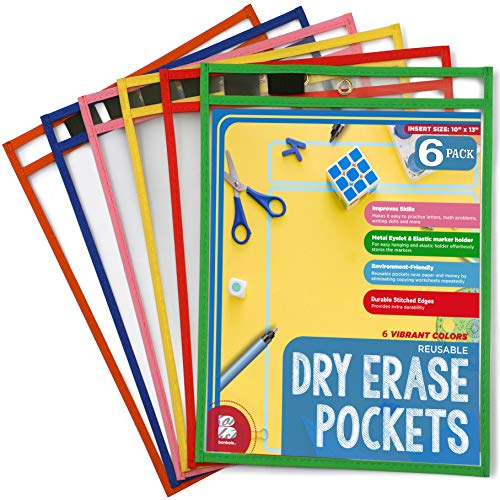 BONBELA Dry Erase Pockets 6 Pack - Dry Erase Sleeves - Reusable Sheet Protectors - School or Work - Oversized 10 x 13 Inches - Dry Erase Sheets - Job Ticket Holders