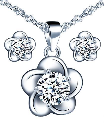 Yumilok-Collar de flores de plata 925, pendientes con incrustaciones de circonitas, joyas de flores para mujeres, juegos de joyas
