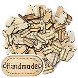 Faden & Nadel 100 x Handmade Holzknöpfe, naturfarben mit 2 Löchern zum Annähen, Größe: 24 mm x...