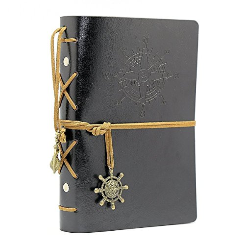 WICOO Vintage Notebook Leather Cover Journal Diary Blank String Nautical Traveler book office school supplies (!!! Black)