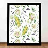 Mural de 10 x 12 pulgadas, vegano, ensalada fresca, aguacate, maíz, lima, hierbas en la granja, cosecha, verduras, decoración de pared perfecta para dormitorio, oficina de estudio
