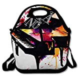 Reusable Lunch Bag for Men Women Graphic Music Bright Watercolor Piano Performance Jazz Orchestra Abstract Acoustic Artistic Notes Insulated Lunch Tote for Travel Office School
