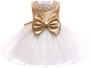 TUOKE Infant Baby Girl Formal Bridesmaid Birthday Ball Gown Sleeveless Ruffles Dress Gold 18M