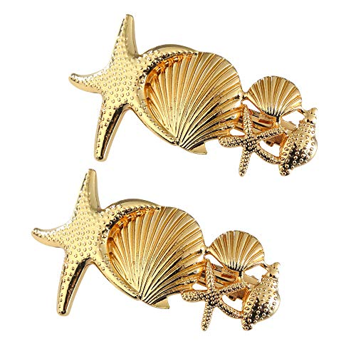 2 Pack Metal Starfish Shell Hair Clips French Clips Hair Barrettes Hair Pins Hair Slide Stylish for Women Girl Gold or Silver Hair Jewelry Accessories (Gold)