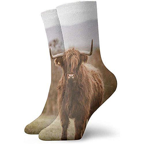 Adamitt Neuheit lustige verrückte Crew Socke Yak auf dem Rasen gedruckt Sport athletische Socken 30 cm lange personalisierte Geschenk Socken