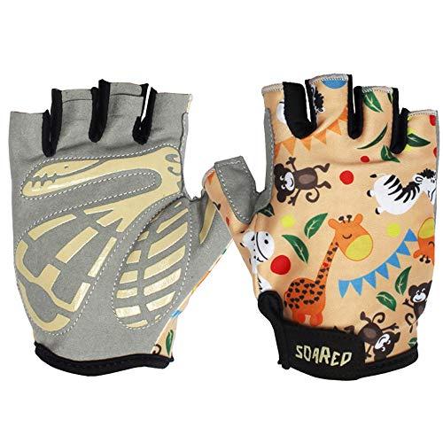 EU World Kinder Fahrradhandschuhe Halbfinger Radfahren Handschuhe Fingerlos Unisex Jungen Mädchen Gelb Atmungsaktiv Fahrrad Handschuhe 5-8 Jahre
