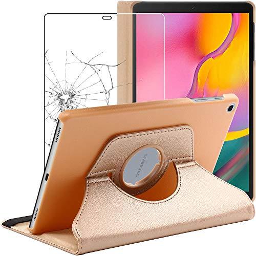 ebestStar - kompatibel mit Samsung Galaxy Tab A 10.1 Hülle 2019 T515 Rotierend Schutzhülle Etui, Schutz Hülle Ständer, Rotating Cover, Gold +Panzerglas Schutzfolie [Tab: 245x149x7.5mm 10.1