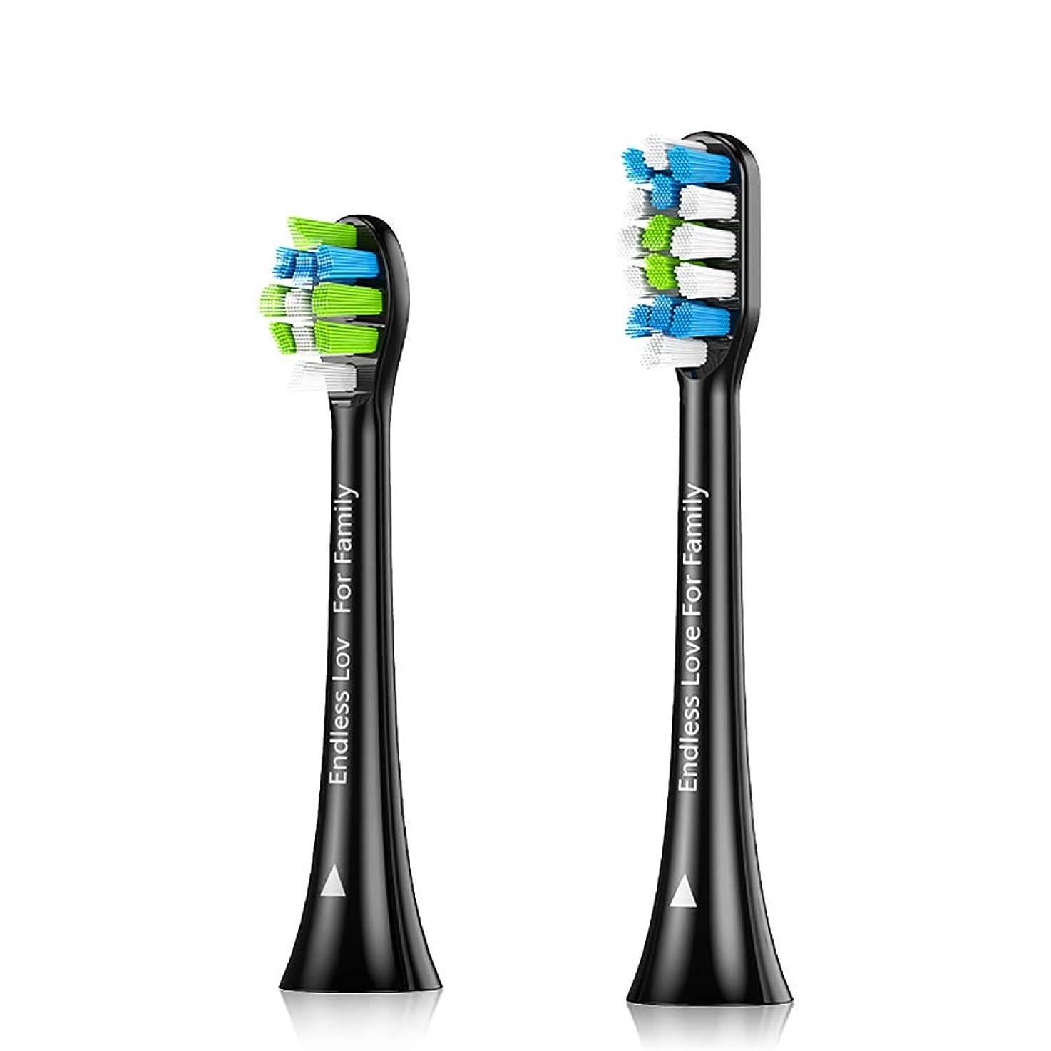 描写おなじみの大いにProscenic 電動歯ブラシ 替えブラシ2本 サイズ分け (ブラック)