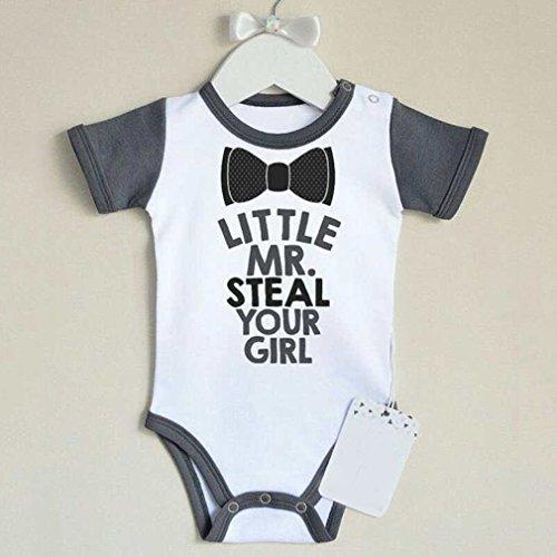 Katoen Baby jongens kleding Romper Gentleman kleding LITTLE MR.Romper Jumpsuit met korte mouwen en letterprint voor baby's, grijs en wit