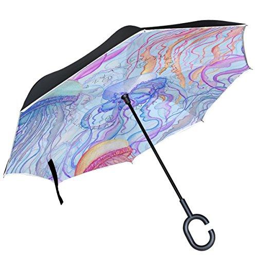 Alaza Watercolor Qualle auf Blau seitenverkehrt Regenschirm Double Layer winddicht Rückseite Regenschirm