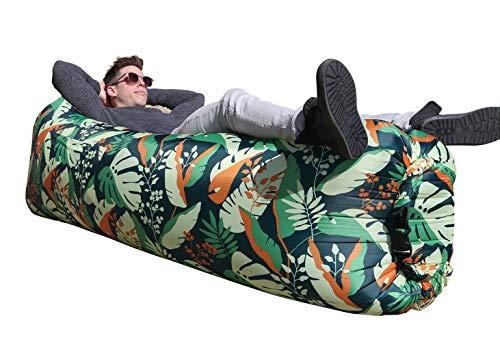 Wekapo Inflatable Lounger Air Sofa Hammock-Portable,Water Proof& Anti-Air Leaking Design-Ideal Couch for Backyard Lakeside Beach Traveling Camping Picnics & Music Festivals (G Leaf)