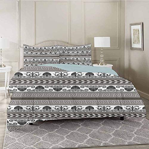 YUAZHOQI Vintage 3 Pieces Duvet Cover Set Old Fashion Antique Motif with Aztec Tribal Effects Design Art Print Premium Washed Microfiber Comforter Cover and 2 Pillow Shams