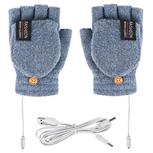 Guantes con Calefacción USB Unisex Manopla para Mujer Y Hombre Guantes de Invierno Cálidos para Ordenador Portátil Calefacción sin Dedos con Calefacción Completa Y Media Tejido de