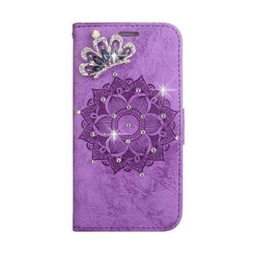 Bear Village® Leder LG G4 Hülle, Leder Tasche mit Magnetverschluss und Kartenfach, Glitzer Geprägte Schutzhülle für LG G4, Violett