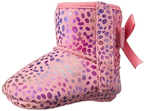 UGG Baby Girls I Jesse Bow II Spots Fashion Boot, Pink Rose Sparkle Suede, 2-3 Infant