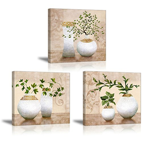 3 Piece Wall Art for Bathroom/Hallway, SZ HD Elegant Canvas Painting Prints of Green Spring Plants in Vases on Beige/Tan Picture (Waterproof Decor, 1' Thick, Bracket Mounted Ready to Hang)