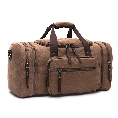 LOSMILE Large Travel Duffles,Holdall Travel Bags Weekend Bag Overnight Bag Carry On Luggage. (Brown)