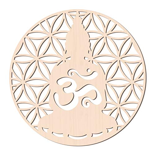 GLOBLELAND 31CM Sakyamuni Buda Arte de Pared de Madera OM Budista Decoración de Pared Geometría Sagrada Decoración del Hoga para Decoración de Pared, Arte, Decoración del Hogar