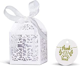 KAZIPA 50PCS Baptism Favor Boxes, 2.2''x2.2''x2.2''Laser Cut Favor Boxes with 50 Ribbons 50 Thank You Tags for Baby Shower Favors Baptism Decorations First Birthday Party