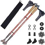 Bastones de marcha nórdica (bastones) – 2 paquetes con antigolpes y sistema Quick Lock, telescópicos, ultraligeros para senderismo, camping, mochila en el hombro, senderismo (color azul)