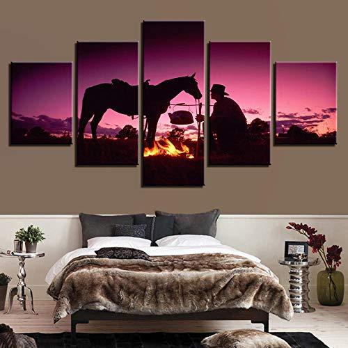 JulCpkian 5 Paneles de de Pintura artística Camping de Caballos con Gente en Paisaje Morado. la decoración del Cuadros para dormitorios