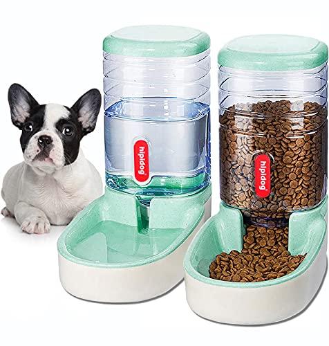 XingCheng-Sport Automatischer Futterautomat Kleine & Mittlere Haustiere Automatischer Futter- und Tränkesatz 3.8L, Reisefutterautomat und Wasserspender für Hunde Katzen Haustiere Tiere (Green)
