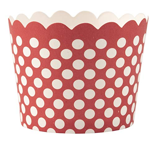 Simply Baked Small 3 Ounce Disposable Paper Baking, Party, Treat, Candy, Cupcake, Muffin and Snack Cups, 25-Pack, Scarlet Dot