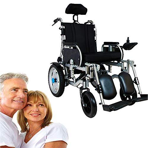 Elektrische rolstoel, inklapbaar, elektrische rolstoel, opvouwbaar, licht met 360 graden joystick, krachtige motor, afneembare hoofdsteun, armleuningpedaal, verstelbaar