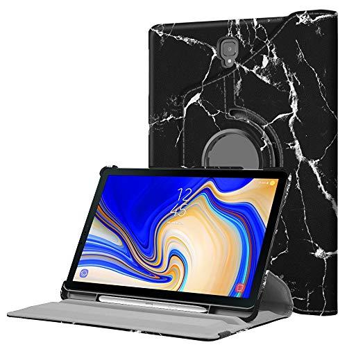 FINTIE Custodia per Samsung Galaxy Tab S4 10.5 2018 Modello SM-T830/T835, Girevole 360 Gradi di Rotazione Cover Case con S Pen Protettiva Holder, Marble Nero