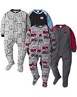 GERBER Baby Boys' 4-Pack Blanket Sleeper, Firetrucks/Bear, 3T