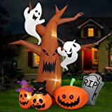 Unomor 8 Ft Halloween Inflatables Dead Tree Decorations, Blow Up Party Decor with Ghosts, Pumpkins, Tombstones, Cats, Built-in LED...