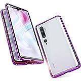 Funda para Xiaomi Mi Note 10 / Note 10 Pro, 360 Grados Delantera y Trasera de Transparente Vidrio Templado Case Cover, Fuerte Tecnología de Adsorción Magnética Metal Bumper Cubierta