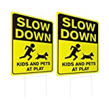 WaaHome 2 Pack Double Side Slow Down Signs with Metal Wire H-Stakes, 12''X17'' Kids and Pe...