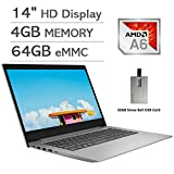 2020 Lenovo IdeaPad 14' HD Display Laptop Computer, AMD A6-9220e Processor, 4GB RAM, 64GB eMMC, 1 Year Office 365, AMD Radeon R4 Graphics, HDMI, Windows 10 S, Gray, 32GB Snow Bell USB Card