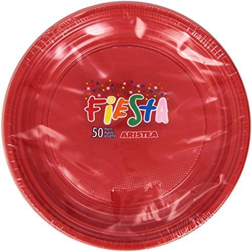 Fiesta - Piatti in Plastica, Colore Rosso - 50 Piatti