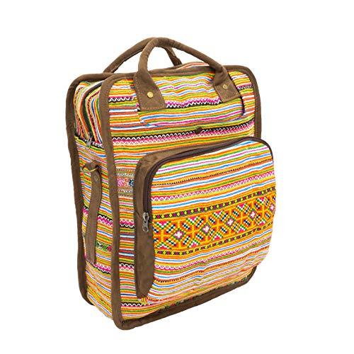 seasara Hmong Rucksacktasche Bestickt mit Tragegriffen Rucksack-Tasche bunt Fairtrade Recycling Vintage Damen Daypack Tagesrucksack Schulrucksack Laptoprucksack Stoffrucksack | Handmade in Thailand